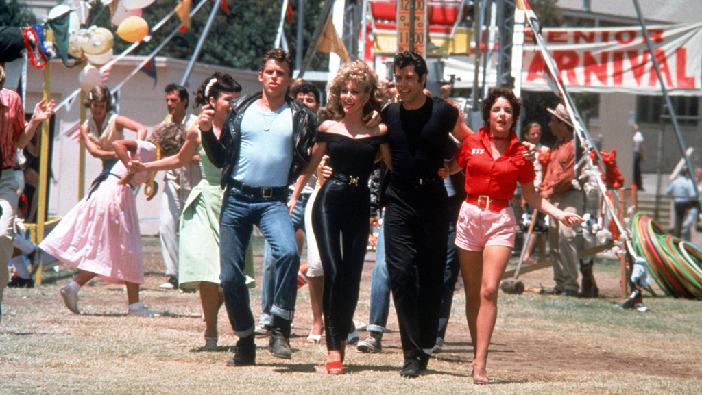 Grease (1978) Directed by Randal Kleiser Shown in foreground from left: Jeff Conaway, Olivia Newton-John, John Travolta, Stockard Channing